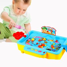 High-quality magnetic ocean play fishing games electric music toys plastic fish hungry brinquedo menina boys toys for Children