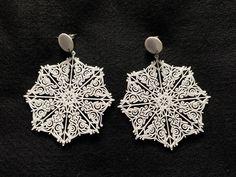 Brinco Mandala Floco de Neve Delicado ***Bijuterias personalizáveis, feitas através de impressora 3D