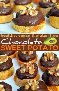 Easy to make bite size chocolate avocado sweet potato snacks. Bursting with nutrition, healthy fats and very appealing. Vegan & gluten free. via @nestandglow
