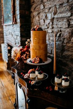 Luxury Bohemian Wedding Inspiration with Caramel, Rust & Raspberry Mini Wedding Cakes, Creative Wedding Cakes, Wedding Cake Designs, Wedding Cake Toppers, Cake Table, Dessert Table, Bohemian Wedding Inspiration, Boho Wedding, Wedding Flowers