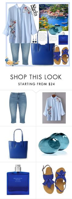 """""""Shein.Flower Embroided Single Breasted Blouse"""" by natalyapril1976 ❤ liked on Polyvore featuring JunaRose, Boudicca and Nine West"""
