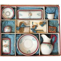 A Beautiful Antique Toy Toilette Set in Original Presentation Box