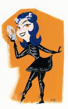 Halloween Skelle Girl Comic Art