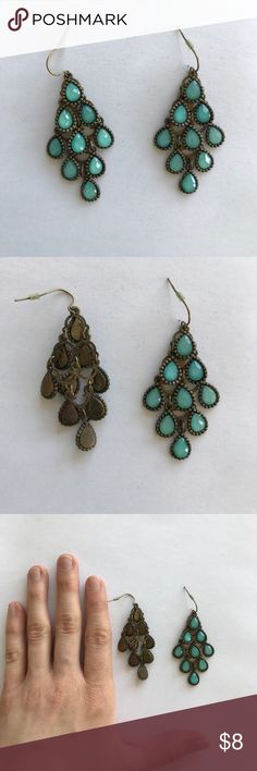 Turquoise and brass dangly earrings Turquoise and brass dangly earrings Anthropologie Jewelry Earrings