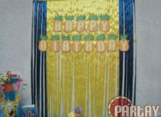 Ribbon background using colors blue & yellow. - Time2Partay.com: Spongebob Themed Party