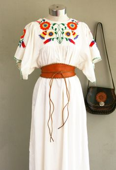 Miss Me Yet - Embroidered -   Bohemian - Hippie Girl - Soft Washed Muslin - Circa 1970s. $42.00, via Etsy.