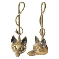Check out this item at One Kings Lane! English Fox Head Doorstops, Pair