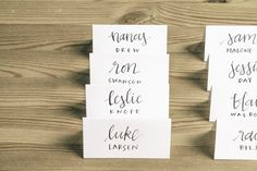 style #9  this listing is for custom handwritten place cards, perfect for your wedding or any special party! -- description -- first and last