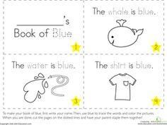 Preschool Colors Fine Motor Skills Letters Worksheets: The Color Blue