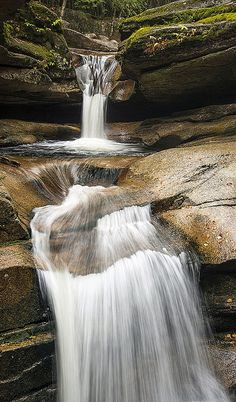 Sabbaday Falls, White Mountains, New Hampshire. Sabbaday Falls is a three tiered waterfall just off the Kancamagus Highway in Waterville and is one of the most popular waterfalls in New Hampshire.