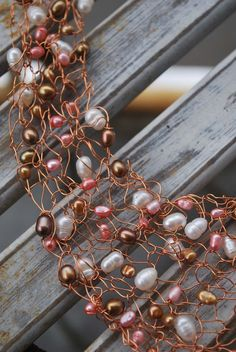 Knitted Copper Wire Necklace with Pearls. The copper is stunning.