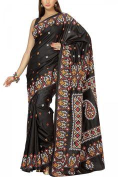 9adc72b55adcc Black   Multi-colored Crochia Nakshi Kantha Soft Silk Saree - Kantha  CraftArt. Embroidery SareeHand EmbroideryEmbroidery StitchesTussar ...