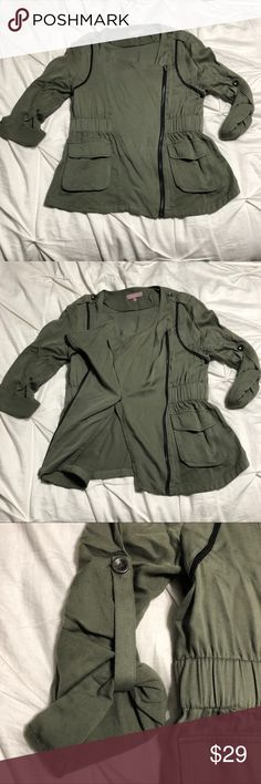 Military Style Army Green Jacket Sz M Zip front military style army green jacket. Size M. Zipper and button detailing on shoulder. Sleeves roll up and button. EUC. From Francesca's. Harper Jackets & Coats Utility Jackets