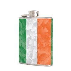 Flag of Ireland and shamrocks Hip Flask