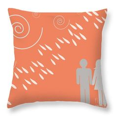 Weather The Storm Together -  Rain Love In Blood Orange Throw Pillow by Irene Irene