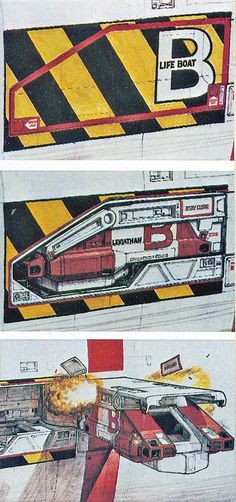 In this design by Cobb, the shuttle fits snugly inside the body of the Nostromo. Upon evacuation, a hatch reveals the ship, which is deployed. This was replaced by the 'claw' we see in the film. This concept was returned to somewhat with the Sulaco's EEV in Alien 3's opening scenes.