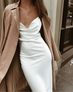 White slip dress + trench.