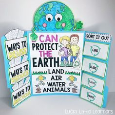 This Earth Day lapbook is awesome! It covers the 3 R's: reduce, reuse, and recycle. It also covers how to take care of the planet and how to sort different recyclables. Earth Day Projects, Earth Day Crafts, School Projects, Earth Day Activities, Science Activities, Science Projects, All About Earth, Earth Day Posters, Reduce Reuse Recycle