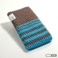 Obal na mobil TYRKYS - háčkované pouzdro na mobil z bavlněné příze - v barvě tyrkys/mokka - foceno na telefonu 12x6x1 cm (přizpůsobí se i přibližnému rozměru) - lze prát (doporučuji ručně)