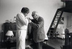 Iannis Xenakis with Olivier Messiaen.