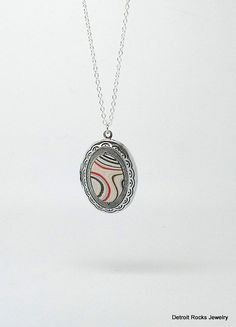Fordite Necklace. Fordite Jewelry. Antique Silver Locket. Sterling Silver Necklace. Made in Detroit. by DetroitRocksJewelry on Etsy