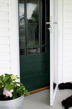 Benjamin Moore Essex Green Paint. Keeping It Cozy: Porch Update: The Front Door