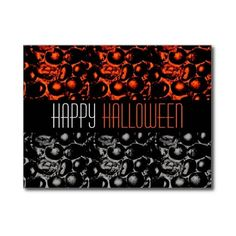 Glam Happy Halloween Postcard ❤ liked on Polyvore featuring home, home decor, halloween postcard, black white home decor, orange home decor, orange home accessories and post card