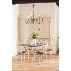 Magnolia Home Furniture French 5 Piece Round Dining Set - Antique White and Bench Brown