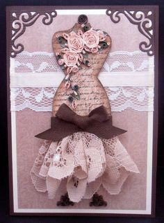 Mannequin Dress Form Handmade Card with Paper Quilled Roses - All Occasions