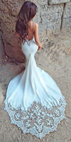 lace low back spaghetti strap mermaid wedding dresses with train enzoani