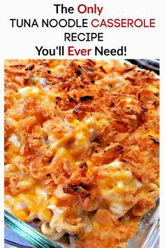 Ready for an amazing casserole recipe? The classic tuna noodle casserole recipe is all grown up with sauted mushrooms, colby jack cheese, onions and more. Tuna Fish Recipes, Seafood Recipes, Dinner Recipes, Cooking Recipes, Healthy Recipes, Healthy Tuna, Tuna Noodle Casserole Recipe, Easy Casserole Recipes, Casserole Dishes
