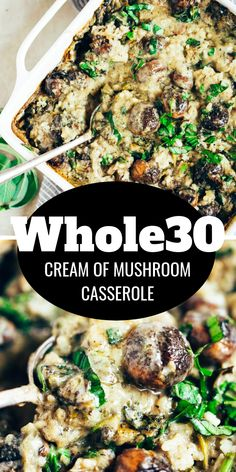 Warm and addicting comfort food alert! Cream of mushroom casserole (paleo and dairy free). Layers of creamy sauce cauliflower rice herbed mushrooms and lots of fresh basil! Made in minutes then its in the oven! Real Food Recipes, Vegetarian Recipes, Healthy Recipes, Paleo Food, Paleo Meals, Clean Recipes, Eat Healthy, Drink Recipes, Dinner Recipes