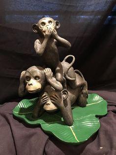 """Three Wise Monkeys See No, Hear No, Speak No Evil Statue Figurine Set - 16-1/2"""" H.!"""