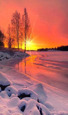 Winter Sunset, Winter Scenery, Beautiful Sunset, Beautiful Places, Landscape Photography, Nature Photography, Image Nature, Winter Landscape, Nature Pictures