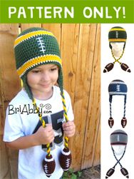 Get your crochet football beanie pattern now and customize your hat to your favorite team's colors to get ready for this football season! www.briabby.com