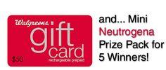 Walgreens $50 Gift Card Giveaway & small Neutrogena Prize Pack on beautyjunkiesunite.com (ends 2/9/15) 5 WINNERS!