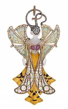 """Sylvia"" pendant, 1900 Paul and Henri Vever Gold, agate, rubies, diamonds, enamel"