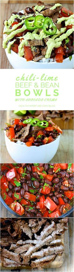 This Mexican-inspired beef bowl is the perfect quick and healthy dinner recipe. It's made with chili powder and lime marinated beef, a simple homemade black bean salsa over rice and topped with an easy avocado cream sauce.
