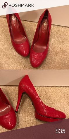 ABS Red Heels Beautiful, worn once...cleaning out closet, comes with box ABS Allen Schwartz Shoes Heels