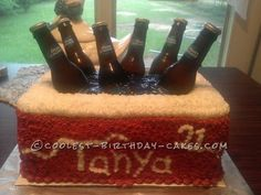 I was asked to make a 21st Birthday cake for my son's friend. He wanted me to somehow use beer bottles in the cake idea. Between him and I we came...