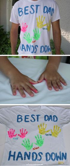 DIY Father's Day Handprint Shirt | DIY Fathers Day Crafts for Kids to Make