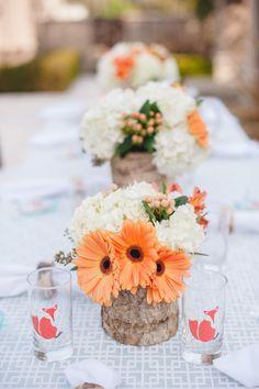 Tischdeko, statt orange Blüten eben pinke, schaut bestimmt auch super aus.