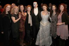 Hugh Panaro and a bevy of beautiful Christines, past and present! Elizabeth Loyacano, Mary D'Arcy, Teri Bibb, Tracy Shayne, Hugh, Trista Moldovan, current Christine Alternate Marni Raab and Rebecca Pitcher. Photo by Jay Brady Photography.