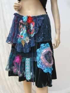 Boho silk velvet skirt, folk skirt, vintage upcycled skirt, gypsy skirt,reworked silk skirt, retro bohemian skirt, upcycled clothing, art to wear, altered couture  Lovely gypsy-folk skirt made of vintage silk velvet. Reworked, hand-decorated with lace, vintage crochet napkin, appliques, tulle, beads... You can use it like a cape too( look photos)   Size: one size waist approx 70-120cm/27-47(elastic) hips approx 160cm/63 length max approx 62cm/24 inch  Please any questions or concerns before…