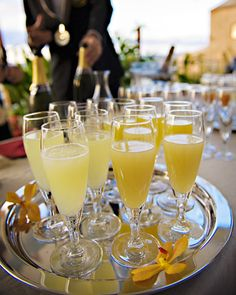 A Bellini (Champagne or sparkling wine plus fruit puree) makes a great cocktail for a brunch-themed shower