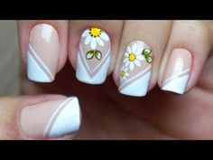 Unhas francesinha decoradas com flor Diy And Crafts Sewing, Crafts To Sell, Rose Nails, Gel Nails, Mani Pedi, Manicure And Pedicure, Youtube Nail Art, Essential Oils For Kids, Nail Art Hacks