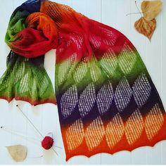 """ Camino leaves "" by Kieran Foley Aade Long Artistic 8\2 400m\100gr 100% wool. 220 gr, 250x55 cm. Color Festival. Needls Knit Pro Nova Metel Cubics 3.5  September 2016"