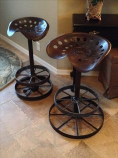 Counter stools from old tractor seats and wagon wheel frames.