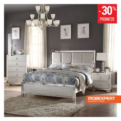 Acme Voeville Panel Bedroom Set in Platinum The Voeville Bedroom Collection will create a warmer and fresher environment in your master Grey Bedroom Design, Gray Bedroom, Bedroom Sets, Modern Bedroom, Bedroom Designs, Mirrored Bedroom, Bedrooms, Master Bedroom, Large Home Office Furniture