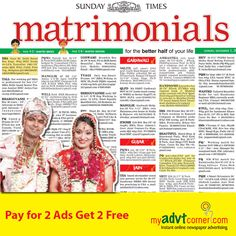 It's more convenient to publish Matrimonial Classified Advertisement in Times of India Newspaper through myadvtcorner online booking portal. For more details visit at http://matrimonial.myadvtcorner.com